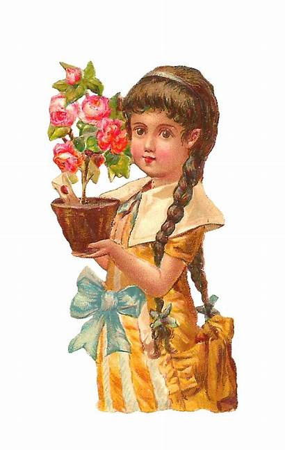 Victorian Antique Clip Holding Rose Pink Bush