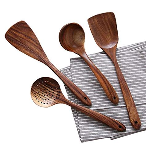 utensils kitchen wooden cooking utensil spoons chops pork wood amazon spatula na nonstick natural