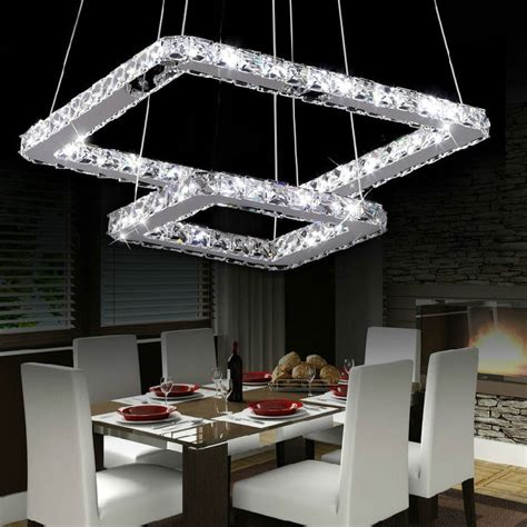 square modern crystal chandelier  living room dining