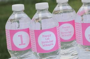 Water bottle labels girls 1st birthday baby shower water for First birthday water bottle labels