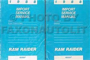 1988 Dodge Ram Raider Repair Shop Manual Original 2 Volume Set