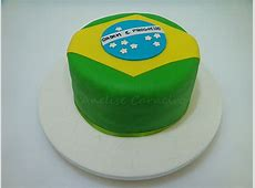 Bolo do Brasil Bolo com a bandeira do Brasil para a copa