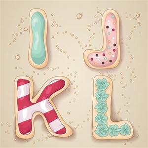 cute cookies with letters vector set free vector in With cookie letter press