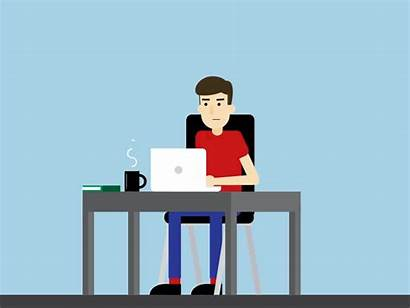 Working Job Hunting Computer Animated Animation Repair
