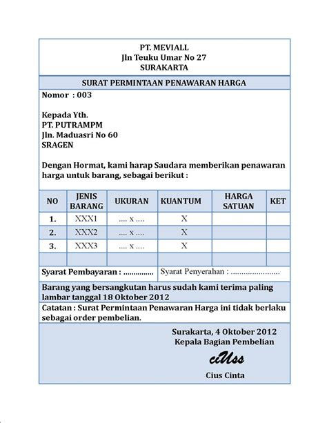Surat Permintaan Pembelian by Akuntansi Puna Na Mevi Surat Permintaan Penawaran Harga