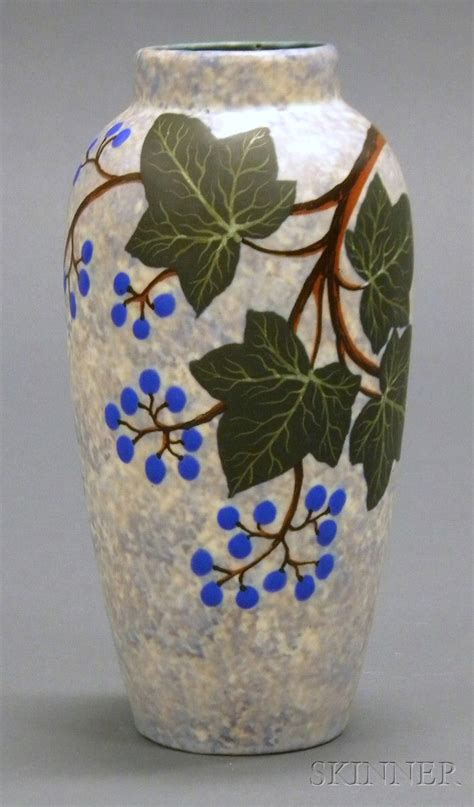 louis dage art deco pottery vase decorated earthenware