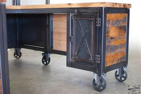 dresser and hutch reclaimed wood steel reception desk industrial
