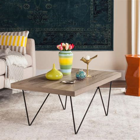 I came across this pretty diy mid century modern coffee table tutorial to revamp my living room! Safavieh Amos Retro Mid Century Wood Light Gray Coffee Table-FOX4265A - The Home Depot