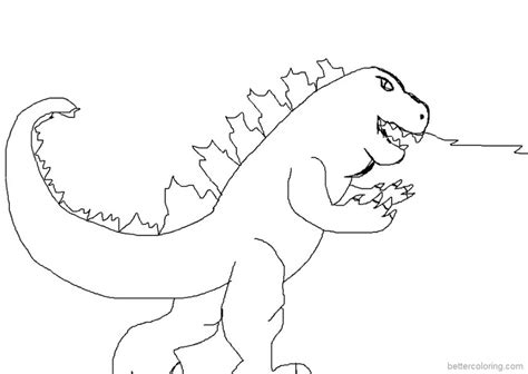 godzilla coloring pages simple drawing  printable