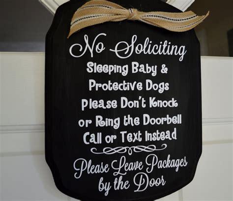 No Soliciting Baby Sleeping And Protective Dog Door Sign Baby