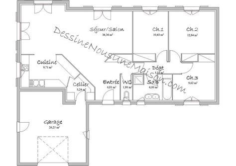 plan de maison plain pied 3 chambres gratuit plans de maisons individuelles avec 3 chambres