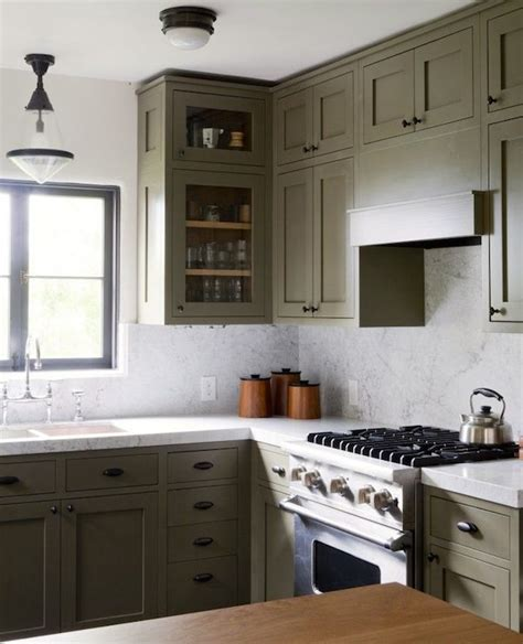 Olive Green Kitchen Cabinets  Transitional Kitchen