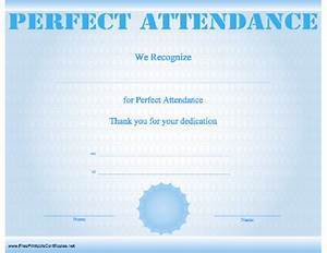 Perfect Attendance Certificate Template Printable Perfect Attendance Certificates New Calendar Template Site