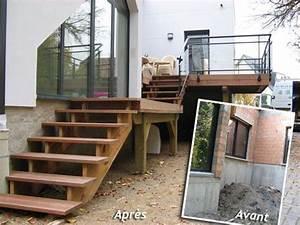 Escalier Terrasse Bois : terrasse en bois avec escalier terrasse terrasse bois ~ Nature-et-papiers.com Idées de Décoration