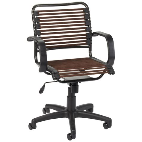 chocolate flat bungee office chair with arms the