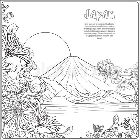 japanese landscape  mount fuji  stock vector