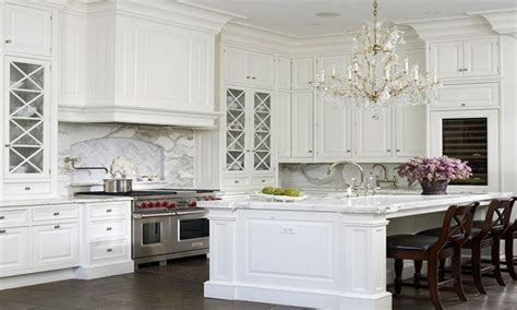 Traditional home design, classic white kitchen cabinets