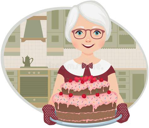 grandmother baked  cake stock vector illustration