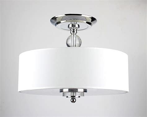 Crystal Decorated Off-white Shade Flushmount Ceiling