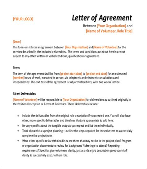 sample agreement letter templates   ms word