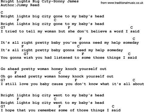 Lights Song by Country Bright Lights Big City Sonny Lyrics