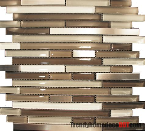mosaic tile for kitchen backsplash 10sf stainless steel beige linear glass mosaic tile