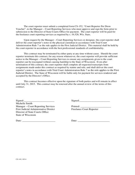 Freelance Court Reporter Resume by Contract For Freelance Court Reporting Services Free