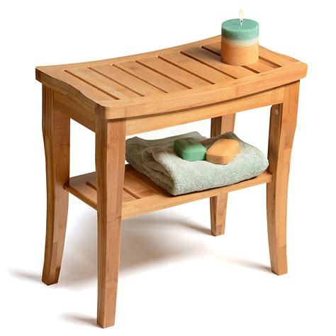 shower bench seat  deluxe bamboo bench  storage