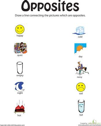 identifying opposites from happy to full summer home school opposites preschool opposites
