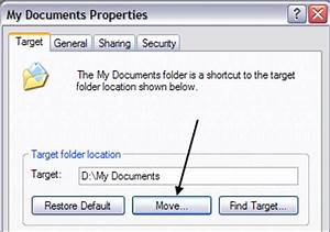 How to move or change the location of my documents folder for Move my documents xp