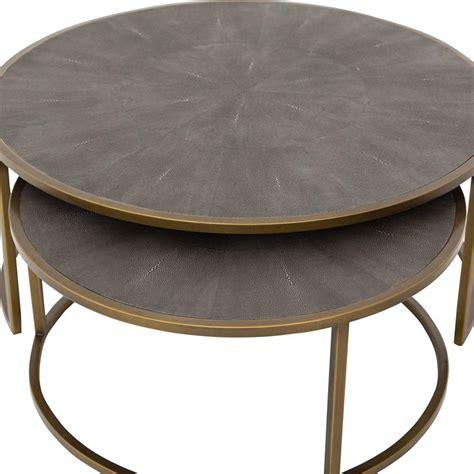 101.28 kb, 768 x 768. Massey Modern Regency Antique Brass Shagreen Round Nesting Round Coffee Table