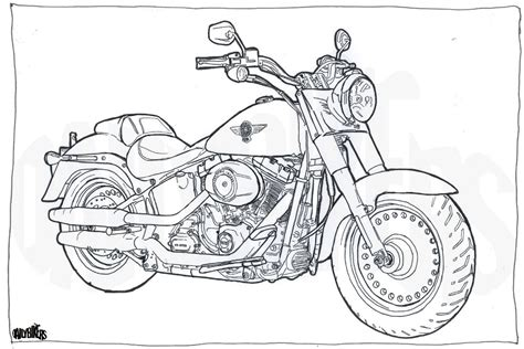 harley davidson fat boy colouring page motorcycle