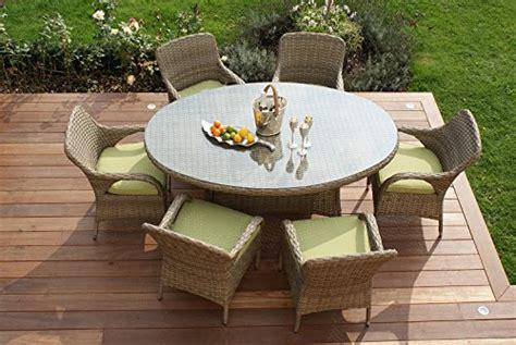 Aston Gartensitzgruppe, Rattan, 6 Stühle, Tisch, Oval