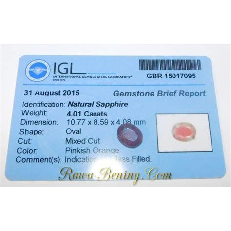 jual batu permata natural sapphire pinkish orange oval cut 4 01 carat