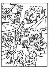 Park Coloring Pages Amusement Theme Getcolorings sketch template