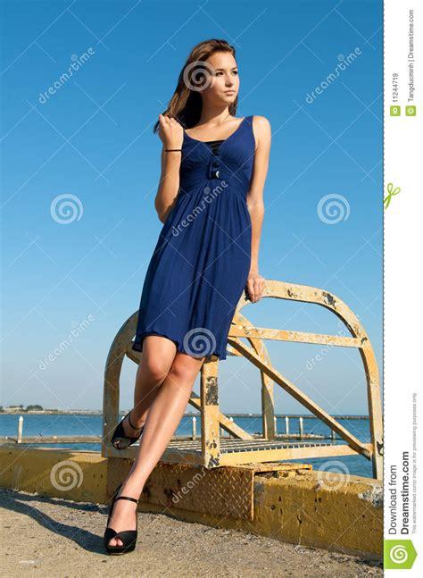 Beautiful Model And Dressed Beautiful Model Blue Dress Stock Image Image Of