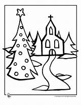 Coloring Church Christmas Pages Activities Catholic Drawing Christian Printable Tree Evergreen Template Caminho Sanctuary Igreja Para Colorings Templates Printer Send sketch template