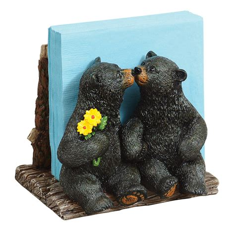 kissing black bears napkin holder