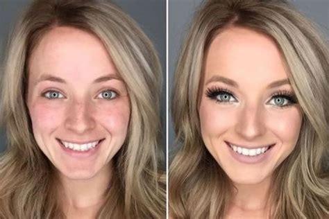 Сила макияжа флешмоб показывающий лицо одновременно до и после нанесения косметики
