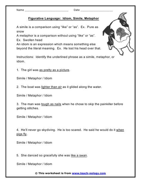 figurative language idioms similes metaphors worksheet