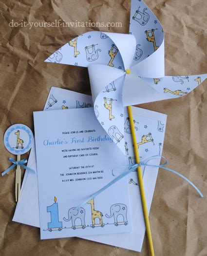 printable st birthday invitations elephant  giraffe