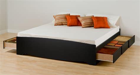 prepac black eastern king platform storage bed  drawers