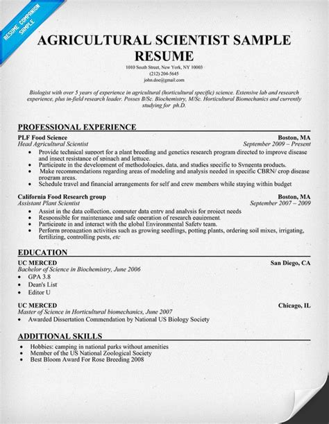 agricultural scientist resume resumecompanioncom