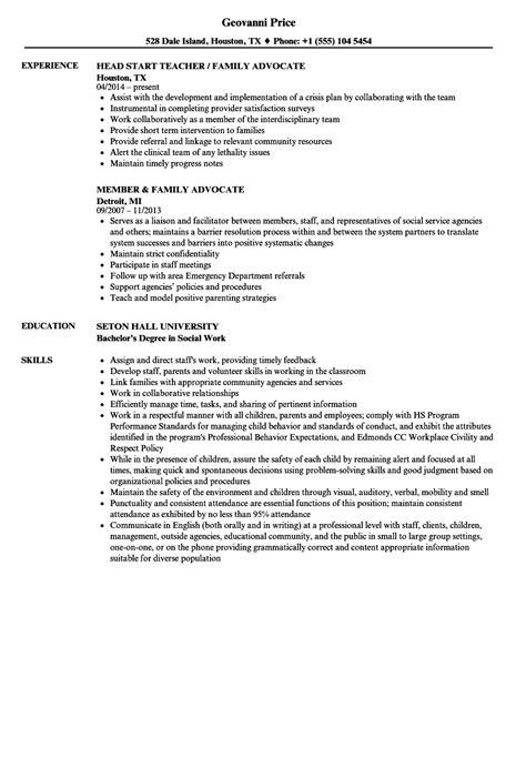 family advocate resume sles velvet