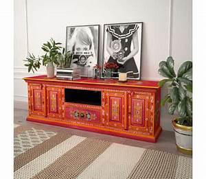 Meuble Tv Manguier : acheter vidaxl meuble tv bois de manguier massif rose peint la main pas cher ~ Teatrodelosmanantiales.com Idées de Décoration