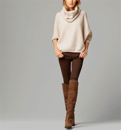 Autumn clothes outfits womens fashion style apparel clothing closet ideas brown boots long ...