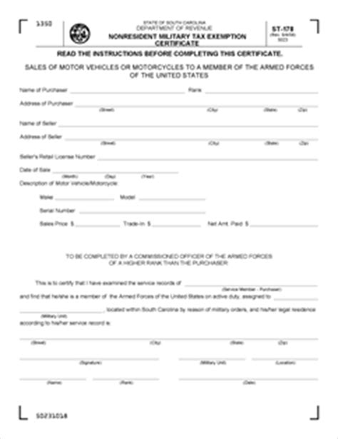 form st 178 fillable nonresident military tax exemption