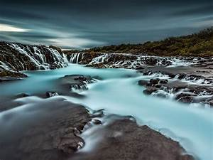 Beautiful, Waterfall, With, Blue, Water, Iceland, Desktop, Backgrounds, Free, Download, For, Windows