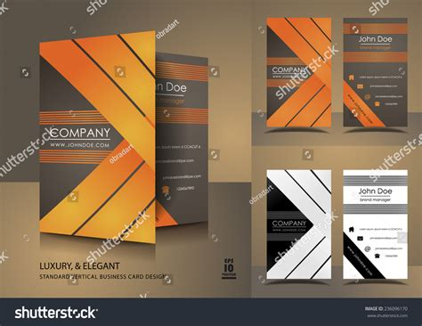 Vertical Business Cards Brown Orange Stock Vector Blank Business Card Template On Word Ai File Free Download For Openoffice Officeworks Scanner Two Sided Receipt Printable Templates