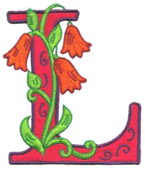cool letter l designs flower letter l out 1z125l embroidery design by glenn